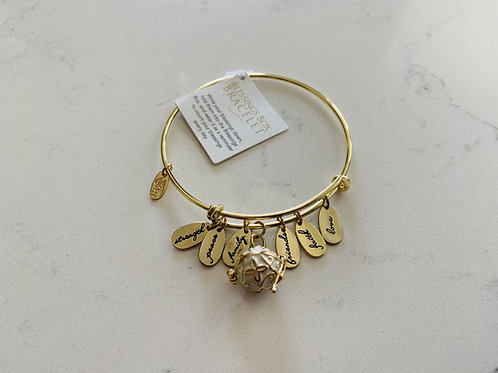 Gold Blessings Box Bangle with White Box