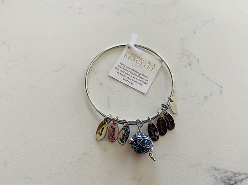 Silver Blessings Box Bangle with Blue Box