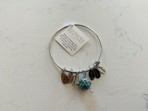 Silver Blessings Box Bangle with Green Box