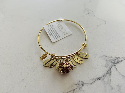 Gold Blessings Box Bangle with Red Box
