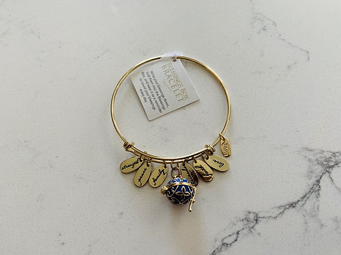 Gold Blessings Box Bangle with Blue Box
