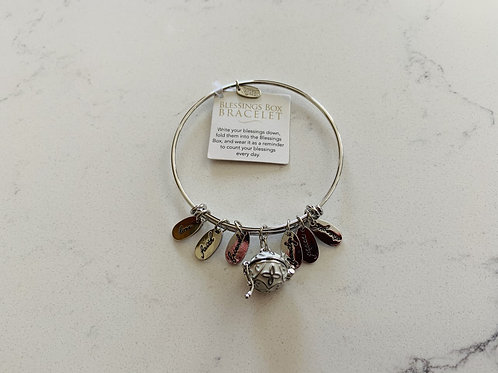 Silver Blessings Box Bangle with White Box