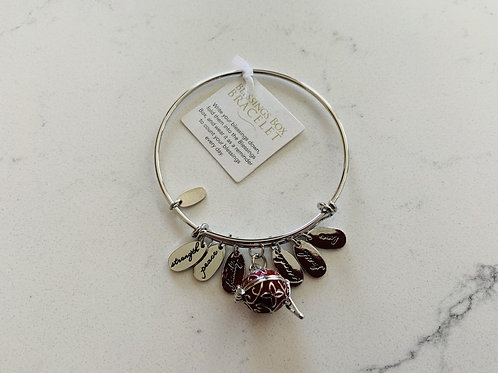 Silver Blessings Box Bangle with Red Box