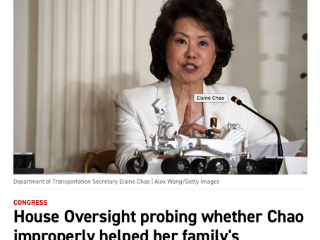 MITCH MCCONNELL WIFE CHAO AND SHIPPING COMPANY TO BE INVESTIGATED FOR CONFLICT OF INTEREST