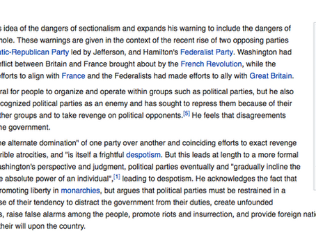 WASHINGTON WARNED US THAT POLITICAL PARTIES WOULD EXACT REVENGE ON EACH OTHER AND ENDANGER OUR COUNT