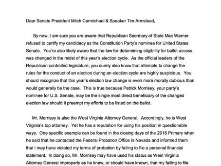 Letter Requesting Legislature Investigate Patrick Morrisey