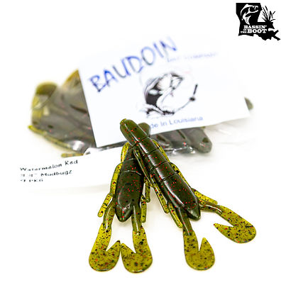"""Pictured is Baudoin Baits 3.3"""" Mudbugz in Watermelon Red."""