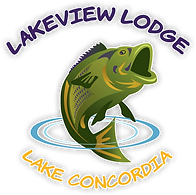 Logo for Lakevie Lodge on Lake Concordia near Ferriday Louisiana, featuring the words Lakeview Lodge in purple and Lake Concordia in yellow haloed around a cartoon bass fish jumpin from the water.