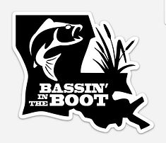Cover image for the Bassin' In The Boot accessories, featuring the Louisian shaped Bassin' In The Boot logo in black with a white bass outline in white and the words Bassin' In The Boot in white.
