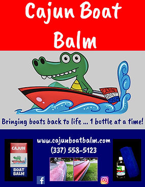 Cajun Boat Balm advertisement featuring their cartoon alligator named Gumbeaux along with product pictures and testimonial picture showing results of Cajun Boat Balm restorin the shine to fibrglass boats.