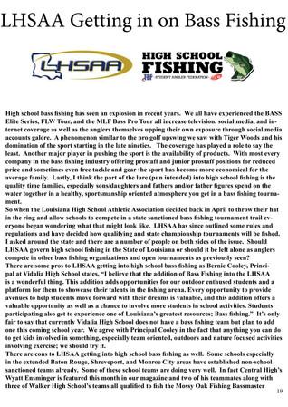 LHSAA Gets Into Bass Fishing