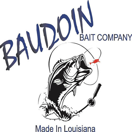 Baudoin Baits company logo with black and white bass chasing red soft plastic lure with Baudoin Bait Company in blue, along with Made In Louisiana.  Image tags:    Bass Louisiana Fishing Bassin