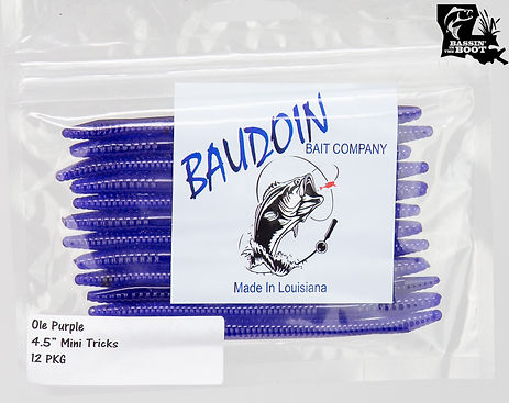 """Pictured is a bag of The original color match of Ole Purple shown in Baudoin's 4.5"""" Mini Tricks worms."""