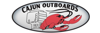 Cajun Outboards logo featuring a cartoon red crawfish and an outboard engine.