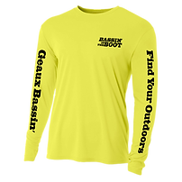 Cover image for Bassin' In The Boot apparel featurng a dry-fit UV resistant long sleeve shirt in yellow with black writing including the Bassin' In The Boot logo, the Geaux Bassin' trademark down one sleeve, and the FYO name Find Your Outdoors down the other sleeve.