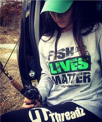 Kayla in her Fish Lives Matters t-shirt.