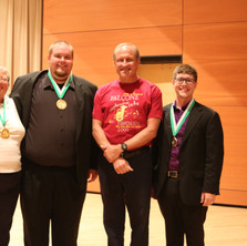 The 2016 Artist Tuba Finalists Zach Marley, Preston Light, and Tim Schachtschneider with Cecilia Falcone and Phil Sinder at the 2016 Falcone Festival