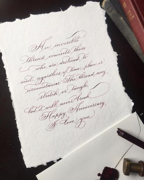 Custom Calligraphy love letter