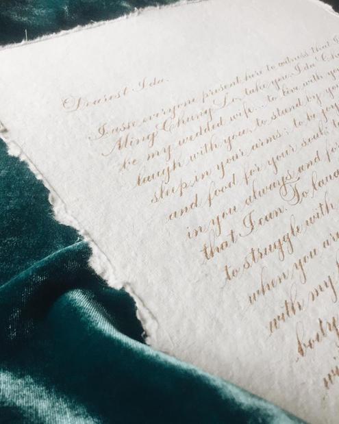 Custom Calligraphy Wedding Vow