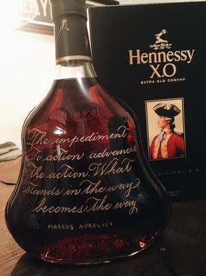 Custom Hand Engraved Hennessy Bottle