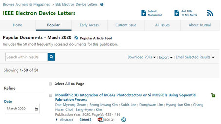 "Our article on M3D integration of the image sensor is featured as ""Most popular article"" in EDL."