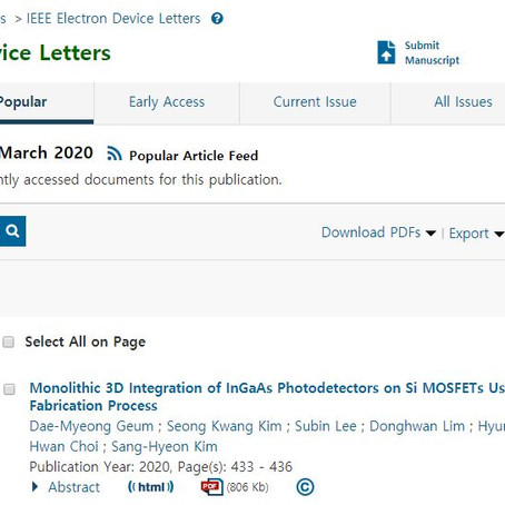 """Our article on M3D integration of the image sensor is featured as """"Most popular article"""" in EDL."""