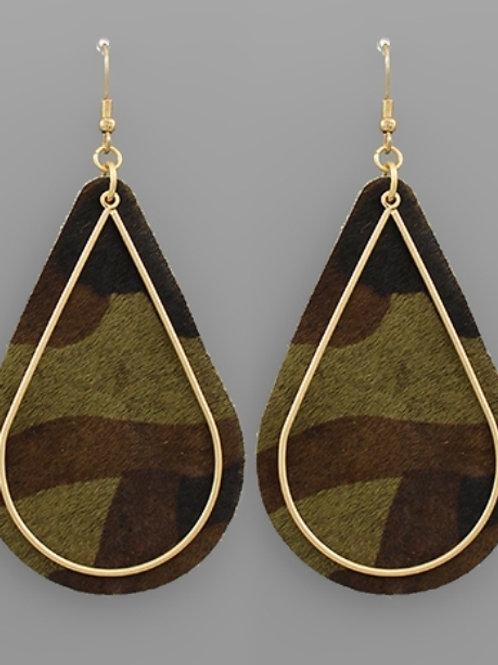 Camouflage Double Tear Drop Earrings