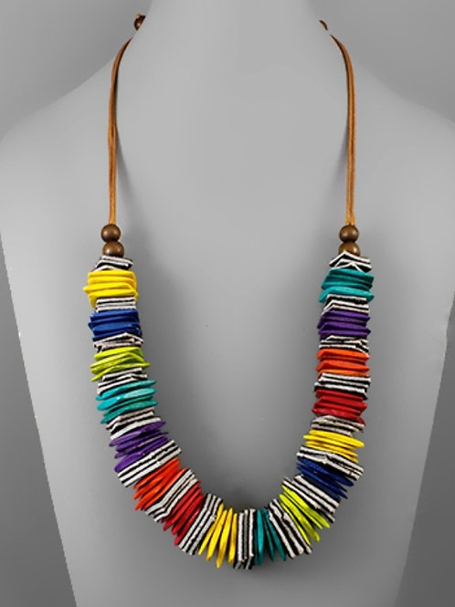Corrine Square Colored Wood Necklace
