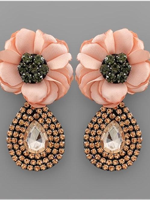 Peach Flower Teardrop Earrings