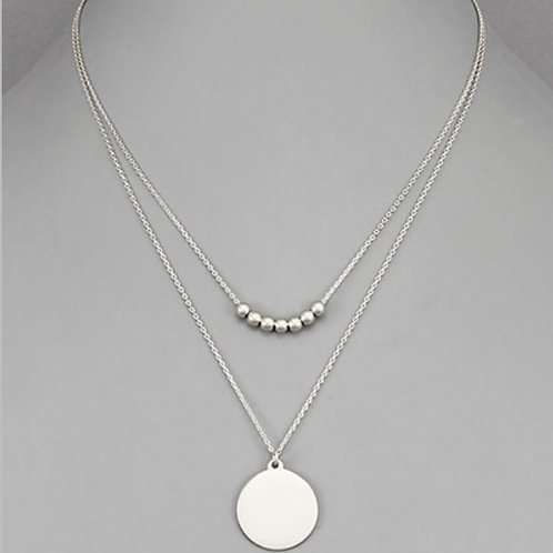 Disc & Balls Layer Necklace
