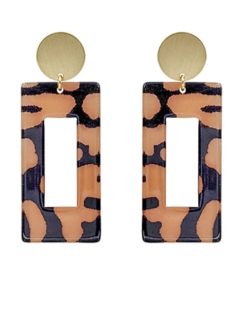 Peach and Black Leopard Rectangle Earrings