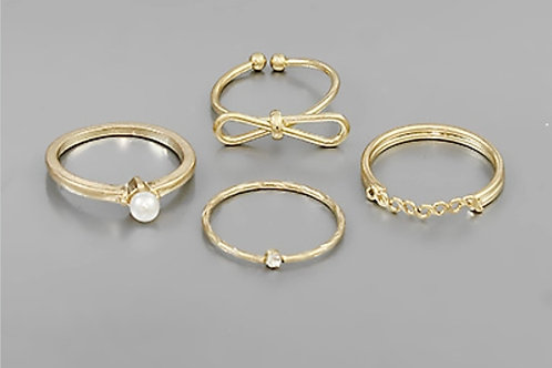 Bow & Pearl Ring Set