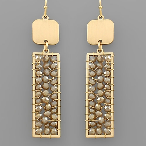 Taupe Bead Wrapped Rectangle Earrings