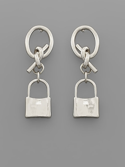 Lock Dangle Oval Earrings