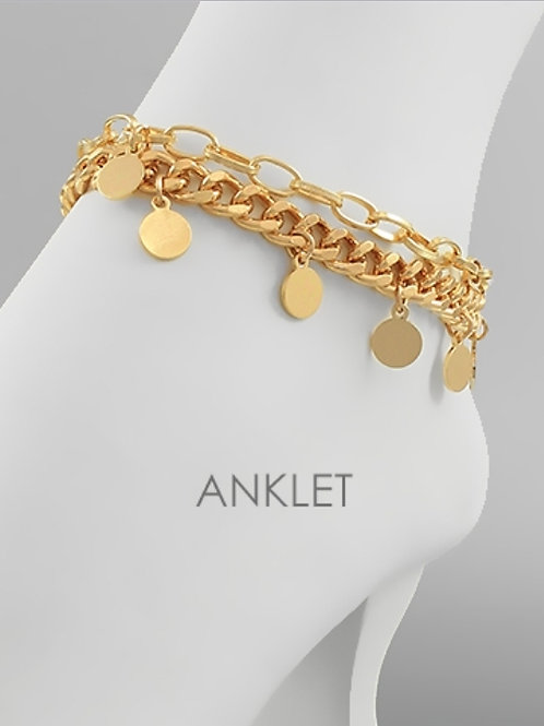 Multi Disc Chain Anklet
