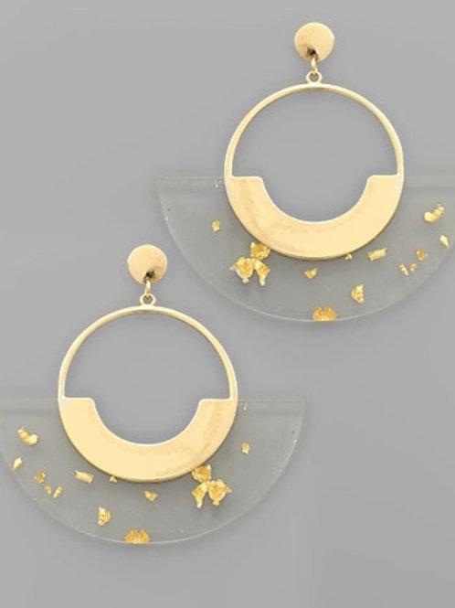 Lucite Fan Circle Earrings