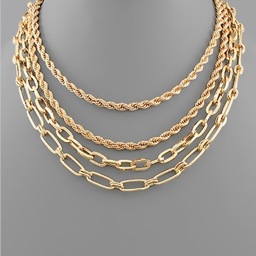 4 Row Chunky Chain Layer Necklace