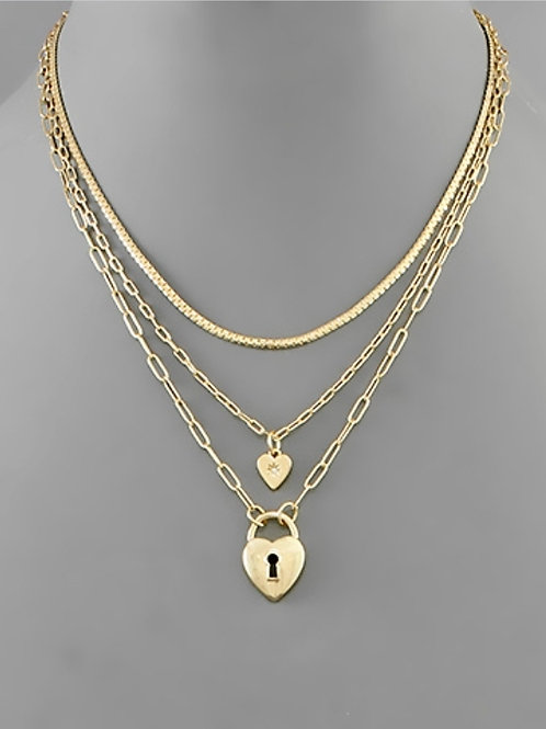 Heather Heart Lock Layer Necklace