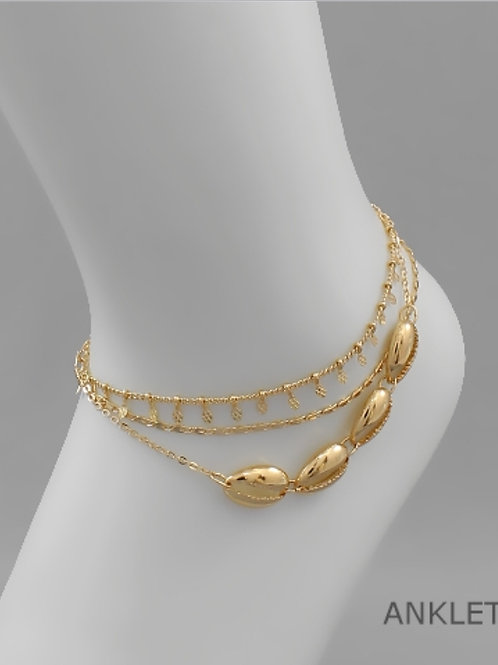 Multi Cowry Shell Layer Anklet