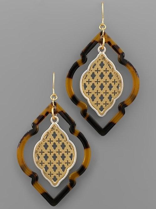 Acrylic & Filigree Arabesque Earrings