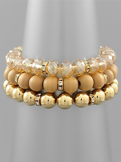 Wood & Metal Ball Bracelet