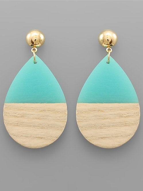 Wood & Resin Teardrop Earrings