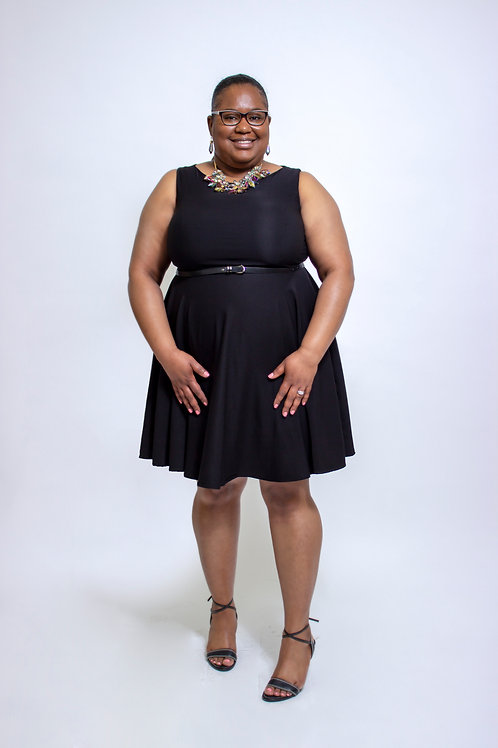 Black flare dress plus size front view