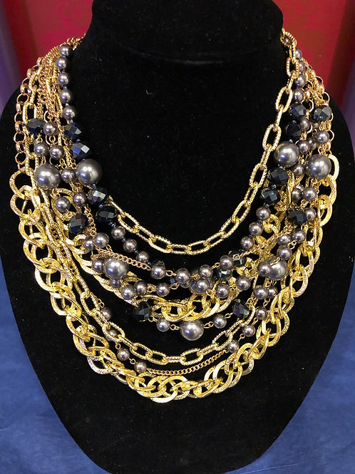 Gold and gray multi layered necklace