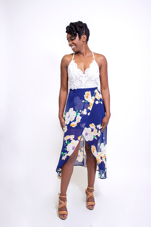 Chiffon blue floral dress front view
