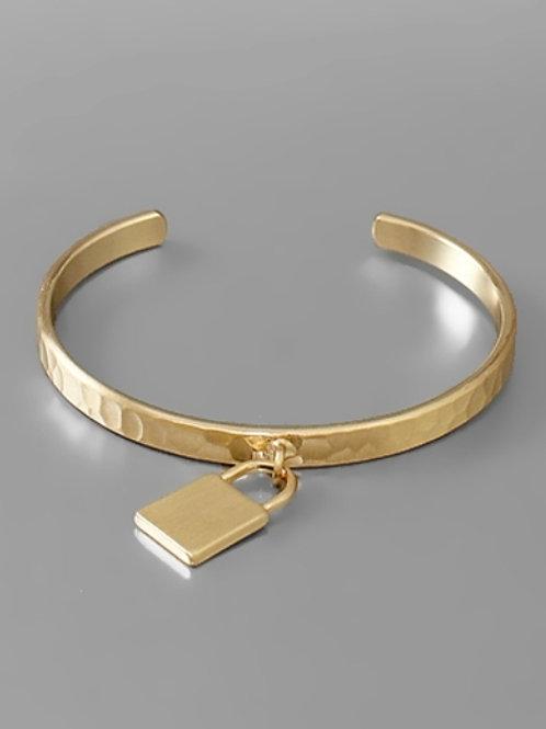 Lock Charm Hammered Brass Cuff