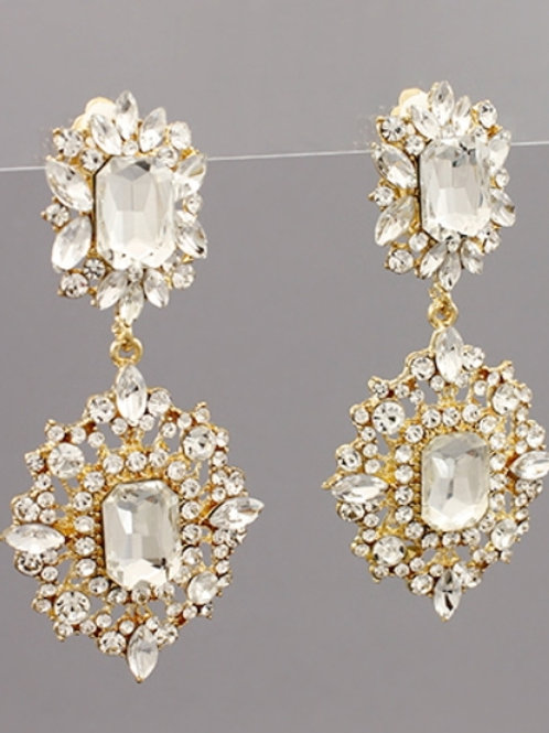 Glass and Metal Diamond Clip on Earrings