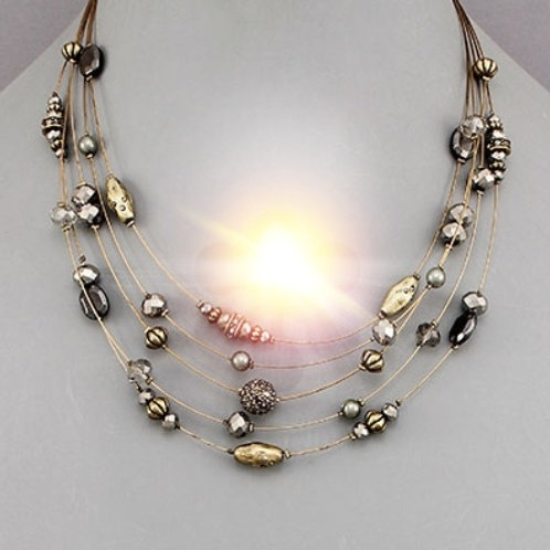 Beads Layered Wire Necklace