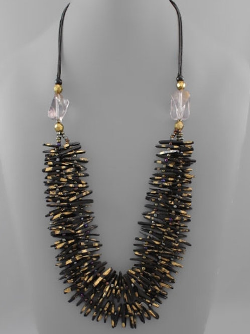 Wood Black and Gold Necklace