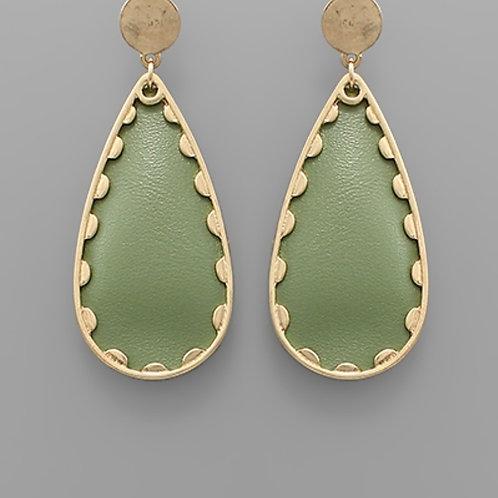 Leather Teardrop Earrings